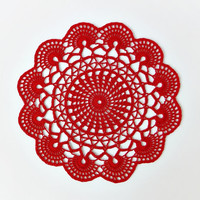 Red crochet doily, hand crocheted lace doilies, cotton placemats, round table cloth, table centerpiece, home decor, table decoration