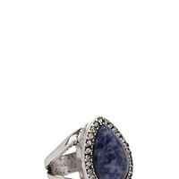 FOREVER 21 Faux Stone Cutout Ring Blue/Silver