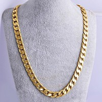 Hip Hop Mens Necklace Chain Solid Gold Filled Curb Cuban Long Necklace Chain