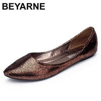 BEYARNE Free shipping 2017 new Europe and America Fan flat  fashion flats Pointy Toe shoes large size women 4 colors
