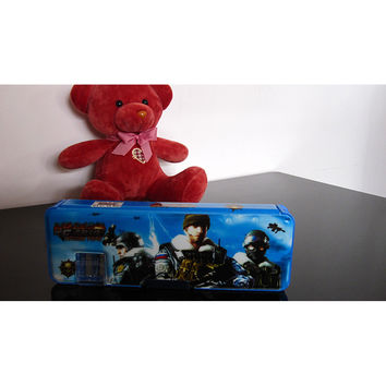 Cute cartoon student supplies Multifunction Two-sided pencil boxes pencil case    Blue Cross Fire
