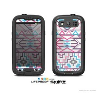 The Vector Pink & White Modern Aztec Pattern Skin For The Samsung Galaxy S3 LifeProof Case