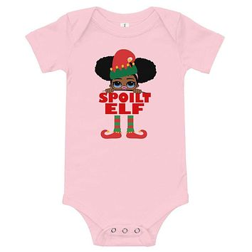 Spoiled Elf Infant Baby Onesuit Bodysuit African American Family Christmas