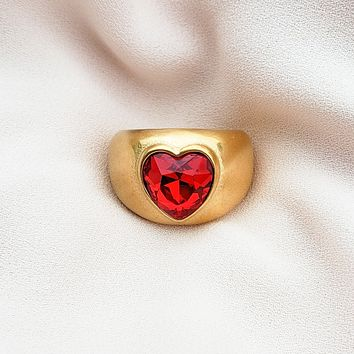 Ruby Statement Heart Ring