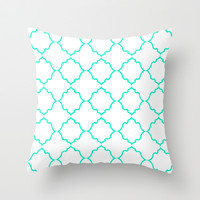 Moroccan White and Aqua Throw Pillow by House of Jennifer