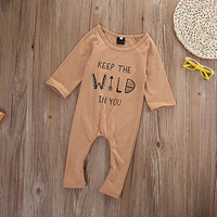Cotton Newborn Infant Baby Boy Girls Romper long sleeve letter printed romper Clothes Outfits