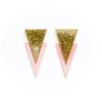 Apache Earrings in Glitter Gold and Pastel Pink