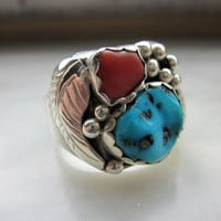 CLEARANCE huge turquoise coral Navajo created solid sterling ring vintage Native handcrafted jewelry size 10 Native artisan jewelry sterling