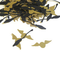Harry Potter Party Decorations - Confetti - 100 Pieces - Golden Snitches and Flying Brooms