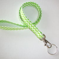 Lanyard  ID Badge Holder - NEW THINNER design - Lime and white chevron zigzag zig zag  - Lobster clasp and key ring