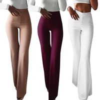 Fashion Women Spring Summer Party Mid Waist Slim Fit Solid Stretchy Bell Bottom Flare Trousers Wide Leg Palazzo Pants