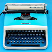 CREAM & BLUE Typewriter Olivetti - Vintage - Portable Manual typewriter - with new ribbon INCLUDED