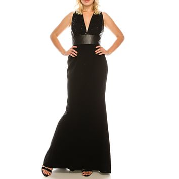 Carmen Marc Valvo Black Plunge Trumpet Long Evening Dress