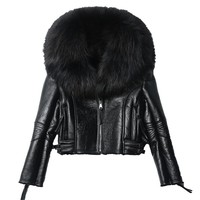 Trendy 2018 Women Real Sheep Fur Coat Winter Jacket Women Warm Genuine Merino Sheepskin Leather Jacket Large Real Raccoon Fur Coats AT_94_13