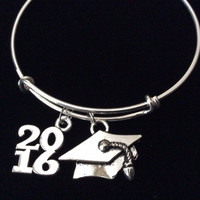 Graduation 2016 Expandable Silver Charm Bangle Bracelet Trendy Gift