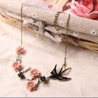 Giftshop12 Oriental Vintage Japanese Cherry Blossom Sparrow Bird Flower Necklace +Gift Box Crystal Flower Pink Black