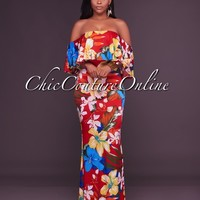 Calypso Red Floral Print Off-The-Shoulder Maxi Dress