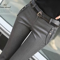 Women Mid Waist Suit Pants Plus Size Casual Work OL Pants 2016 Spring Autumn Career Grey Pants Fashion Bell-bottom Trousers