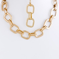 Laura Square Chain Link Necklace