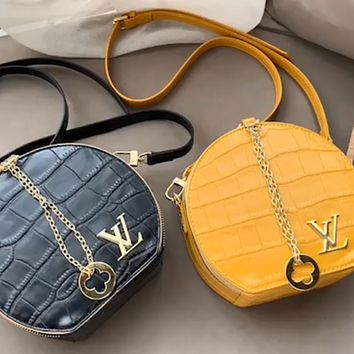LV stone pattern round cake bag female shoulder bag crossbody bag