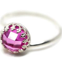 8mm Pink Sapphire Ring, Gemstone Engagement Ring, Sapphire Cocktail Ring, Pink Jewel Ring