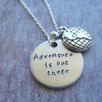 """Disney's """"Up"""" Inspired """"Adventure is out there"""" necklace, stamped metal jewelry, adventure necklace"""