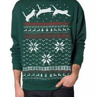 Skip N' Whistle Adult Ugly Christmas Sweater Cat Jumping In Snow Pullover Cat Sweatshirt XXL Forest Green