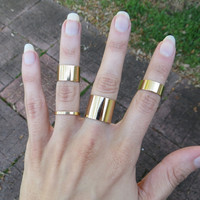 Wide Gold Band Midi Stacking and Layering Rings - Set of 4