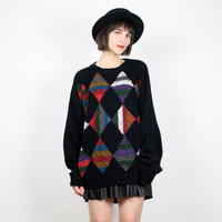 Vintage Cosby Sweater Black Geometric Print Jumper New Wave Knit Pullover 1980s 80s Sweater Oversized Mod Cozy Chunky Knit L XL Extra Large