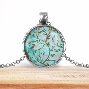 Tree branch pendant necklace, choice of silver or bronze, key ring option