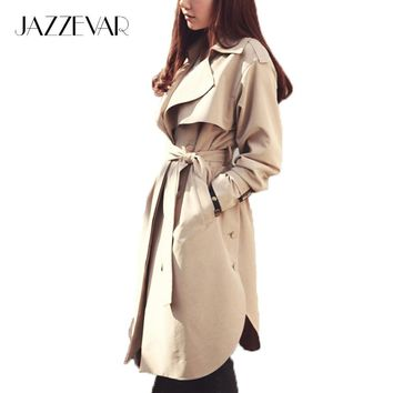 JAZZEVAR new spring autumn fashion Casual women's khaki Trench Coat long Outerwear loose clothes for lady with belt