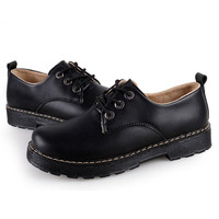 Pure Color Round Toe Lace UP Low Martin Boots