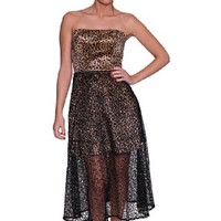 Beautifly Women's Strapless Leopard Print Semi-Sheer Hem Dress
