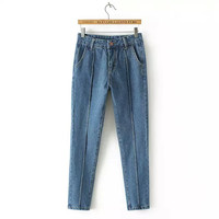 Denim Blue Pleated Zippered Pants With Pockets