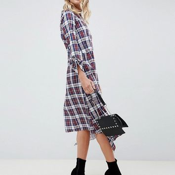 ASOS DESIGN soft trapeze midi dress with pephem in check | ASOS