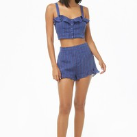 Flounce Striped Linen Shorts