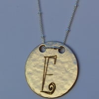 Initial Necklace with Round Disc Pendant