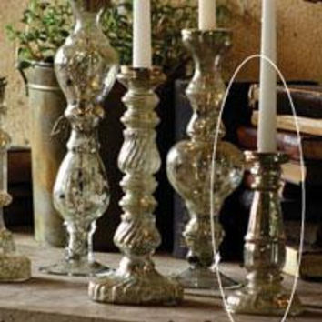 """Antiqued Silver Glass Taper Candle Holder 8"""""""
