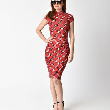 Unique Vintage 1960s Red Plaid Stretch Knit Cap Sleeve Holly Wiggle Dress