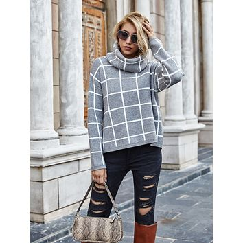 Grid Pattern High Neck Sweater