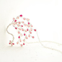 Cherry Blossom Tree Necklace in Sterling Silver, Soft Magenta Pink, Eco Friendly Designer Jewelry, Windswept...