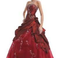 Faironly M37 Strapless Burgundy Prom Dress Stock , Size XS