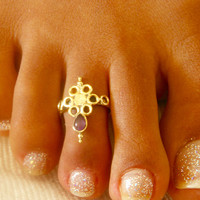 Brass Toe Ring - Adjusable Toe Ring - Gemstone Toe Ring - Foot Accessories - Foot Ring - Band Toe - Foot Jewelry - Gifts Under 20