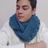 wool cable knit scarf, handmade knit scarf, knit men scarf, cable infinity scarf, Neckwarmer, knit hat for him, fall winter halloween,