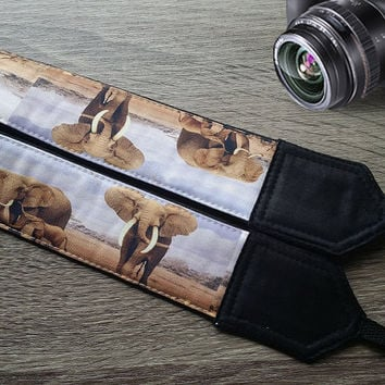 Elephants Camera Strap. Photographer Gift.  African Camera Strap. Photo  Accessories