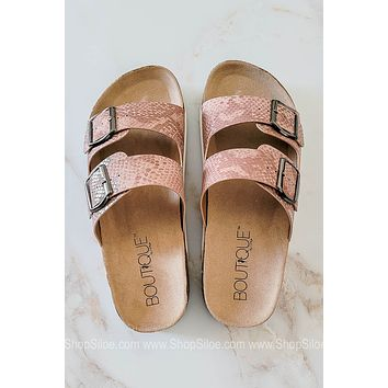Beach Babe Double Strap Sandals | Pink Snake