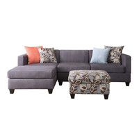 Poundex Simplistic Sofa with Chaise & Ottoman