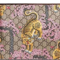 LMFON3F Gucci GG Bengal Blossoms Pink Tiger Pouch Box Authentic Leather Wrist Zip Strap Italy New