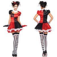 Adult Harley Quinn Costume Funny Clown Circus Cosplay Carnival Halloween Costumes For Women Performance Party Dress