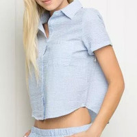 Short Sleeve Pointed Collar Single Breasted Crop Top